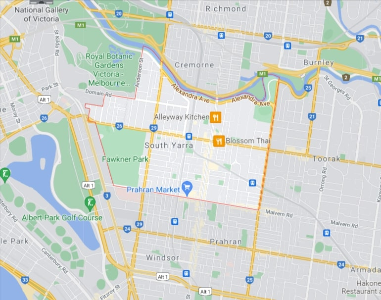 South Yarra Map Area